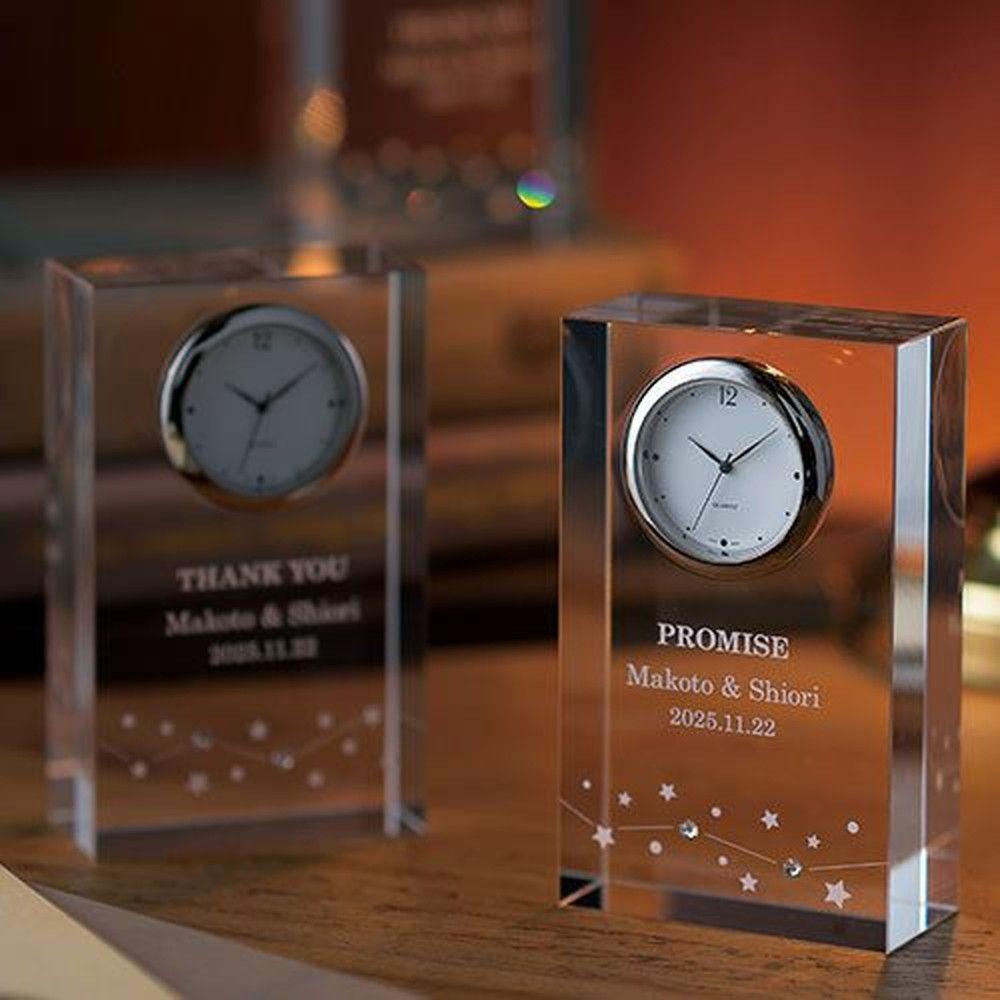 三連時計 ペルメール・ザ・クリスタル 繋がる星の輝き時計